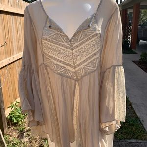 layered lace & cotton blouse by; Free People